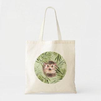 Hedgehog and green leaves tote bag