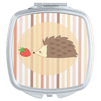 Hedgehog and Strawberry Travel Mirrors