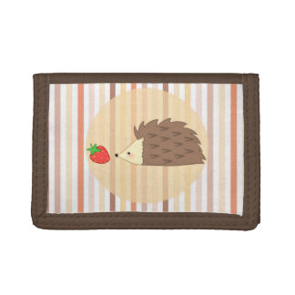 Hedgehog and Strawberry Tri-fold Wallet