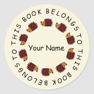 Hedgehog Back To School Sticker! Classic Round Sticker