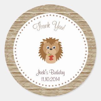 Hedgehog Birthday Thank You Sticker Woodland