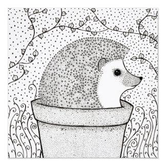Hedgehog Blank Square Card, Beautiful, Illustrated Card