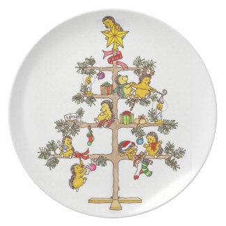 Hedgehog Christmas plate