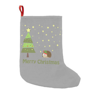 Hedgehog Christmas Scene Small Christmas Stocking