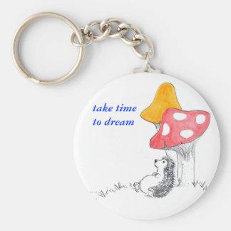 Hedgehog dreamer basic round button keychain