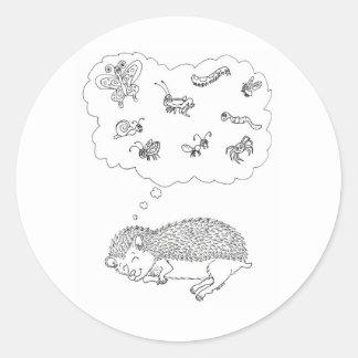 Hedgehog Dreams Round Sticker