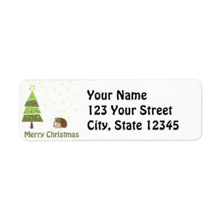 Hedgehog Elf Christmas Scene Return Address Label