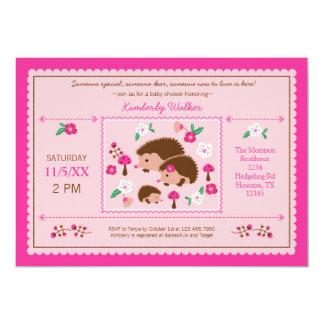 Hedgehog Family Baby Girl Shower Invitation