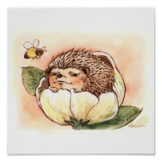 Hedgehog Flower Baby Poster