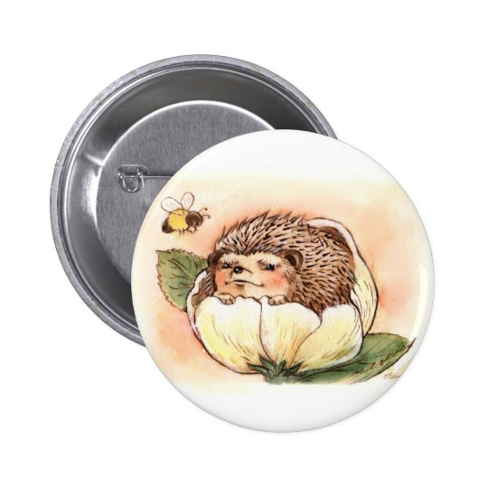 Hedgehog Flower Baby Watercolor 2 Inch Round Button