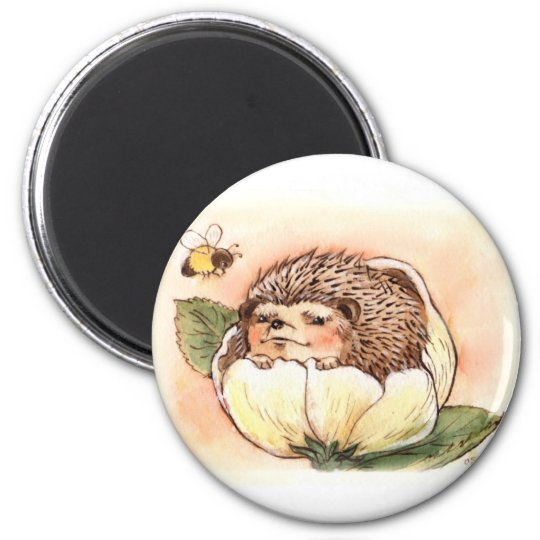 Hedgehog Flower Baby Watercolor 2 Inch Round Magnet