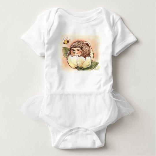 Hedgehog Flower Baby Watercolor Baby Bodysuit