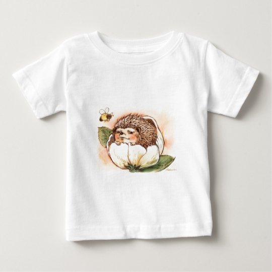 Hedgehog Flower Baby Watercolor Baby T-Shirt