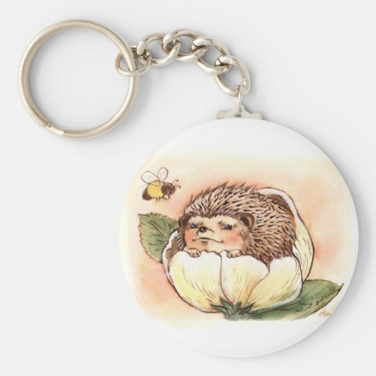 Hedgehog Flower Baby Watercolor Basic Round Button Keychain