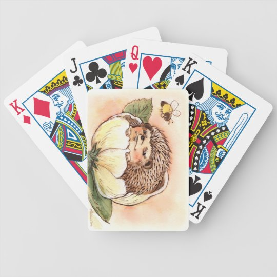 Hedgehog Flower Baby Watercolor Bicycle Playing Cards