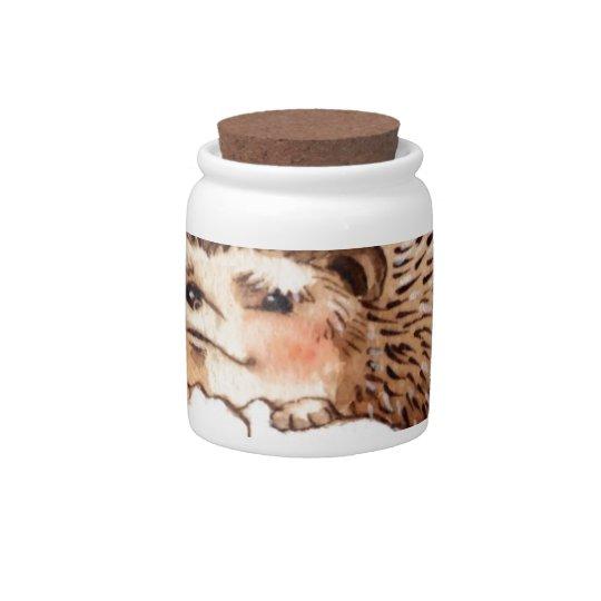 Hedgehog Flower Baby Watercolor Candy Jar