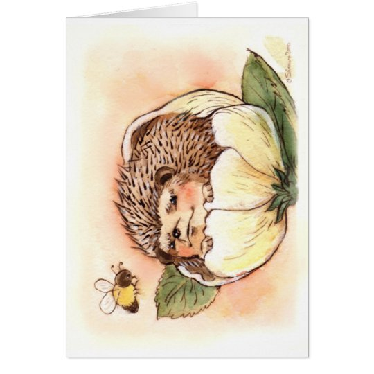 Hedgehog Flower Baby Watercolor Card