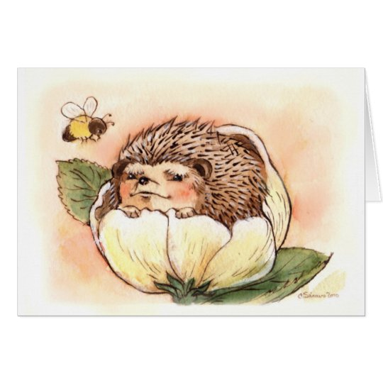 Hedgehog Flower Baby Watercolor Card