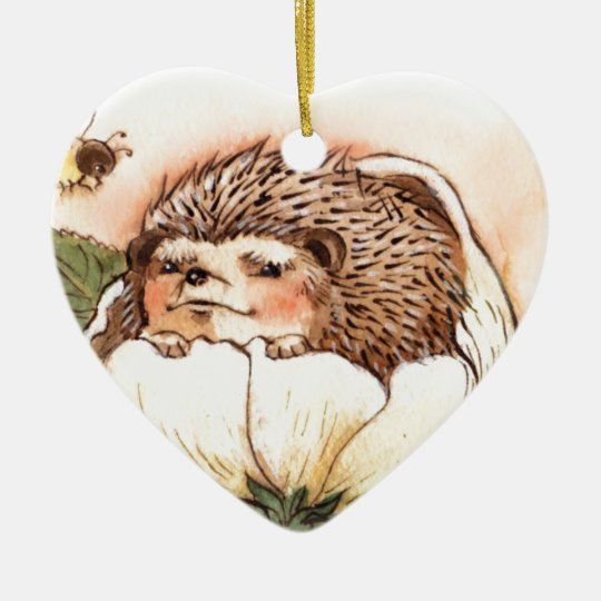 Hedgehog Flower Baby Watercolor Ceramic Heart Ornament