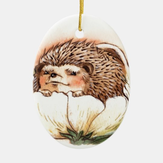 Hedgehog Flower Baby Watercolor Ceramic Oval Ornament
