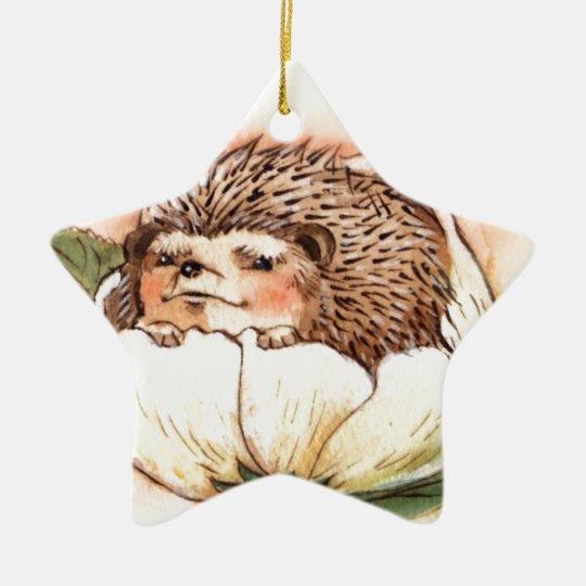 Hedgehog Flower Baby Watercolor Ceramic Star Ornament