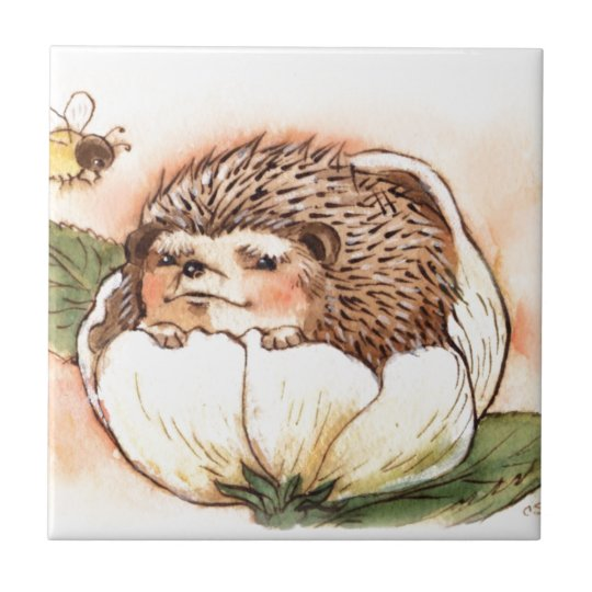 Hedgehog Flower Baby Watercolor Ceramic Tiles