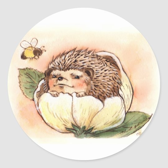 Hedgehog Flower Baby Watercolor Classic Round Sticker