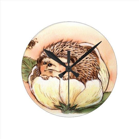 Hedgehog Flower Baby Watercolor Clock