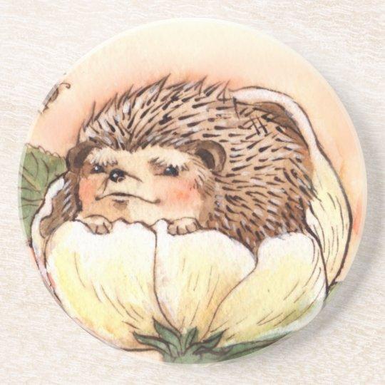Hedgehog Flower Baby Watercolor Coaster