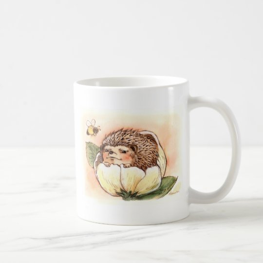 Hedgehog Flower Baby Watercolor Coffee Mug