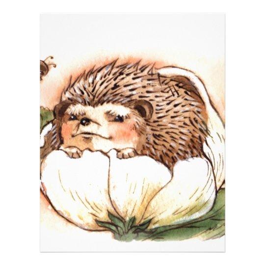 Hedgehog Flower Baby Watercolor Custom Letterhead