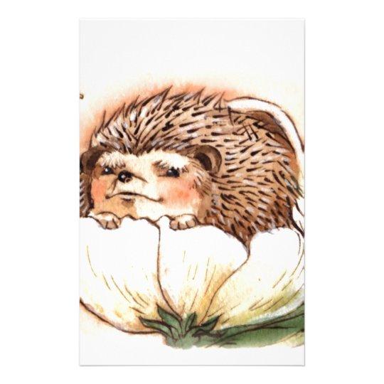 Hedgehog Flower Baby Watercolor Custom Stationery