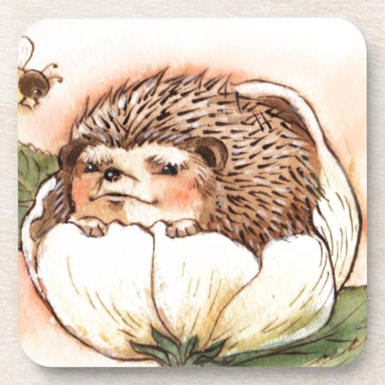 Hedgehog Flower Baby Watercolor Drink Coaster