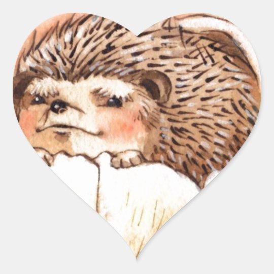 Hedgehog Flower Baby Watercolor Heart Sticker