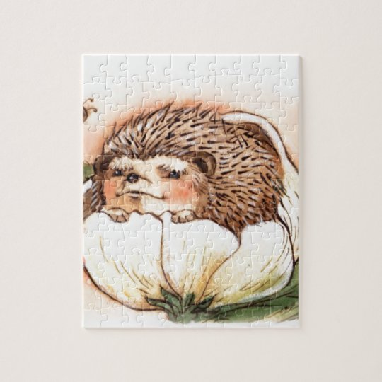 Hedgehog Flower Baby Watercolor Jigsaw Puzzle