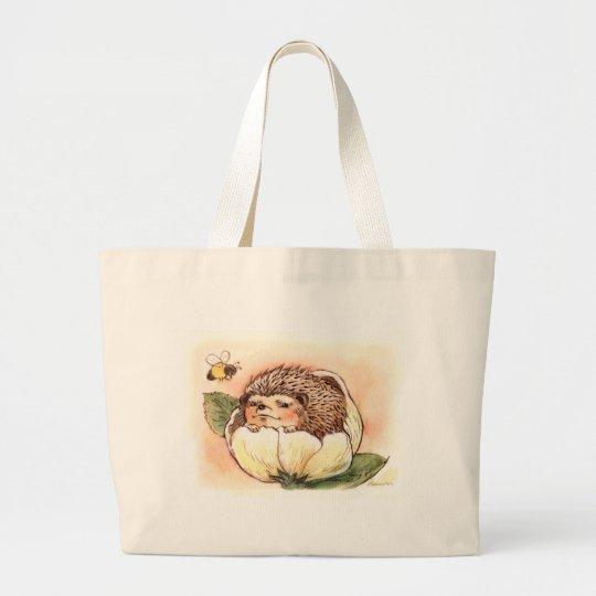 Hedgehog Flower Baby Watercolor Large Tote Bag