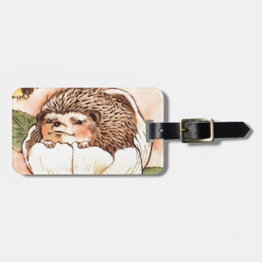 Hedgehog Flower Baby Watercolor Luggage Tag