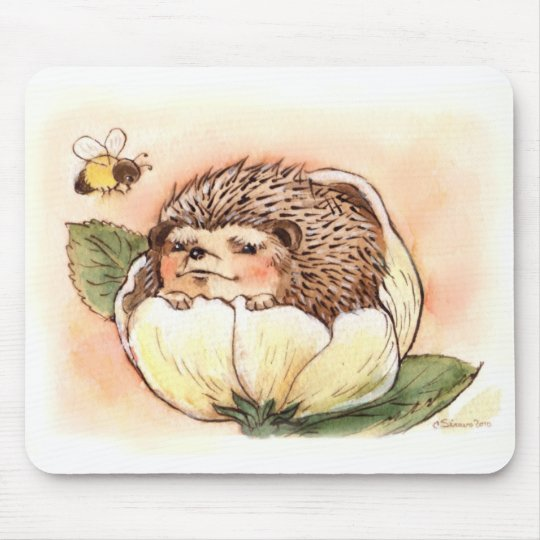 Hedgehog Flower Baby Watercolor Mouse Pad