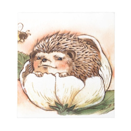 Hedgehog Flower Baby Watercolor Notepad