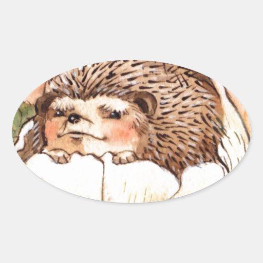 Hedgehog Flower Baby Watercolor Oval Sticker