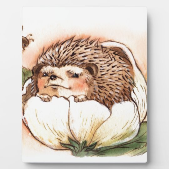 Hedgehog Flower Baby Watercolor Plaque
