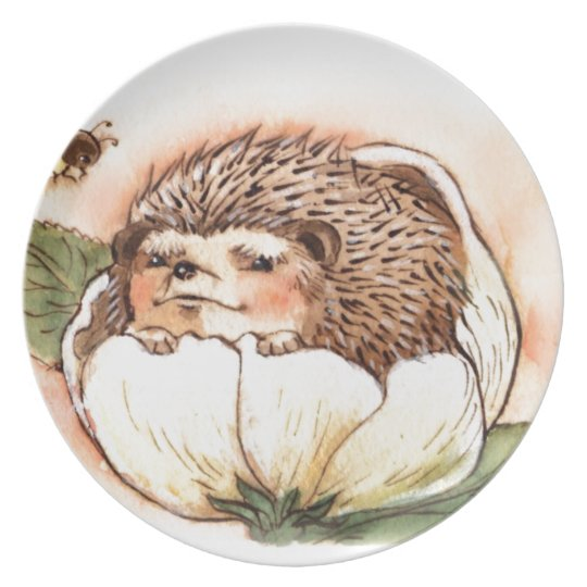 Hedgehog Flower Baby Watercolor Plate