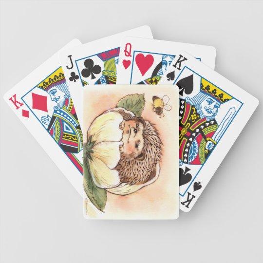 Hedgehog Flower Baby Watercolor Poker Deck