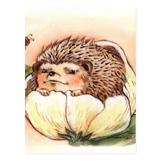 Hedgehog Flower Baby Watercolor Postcard