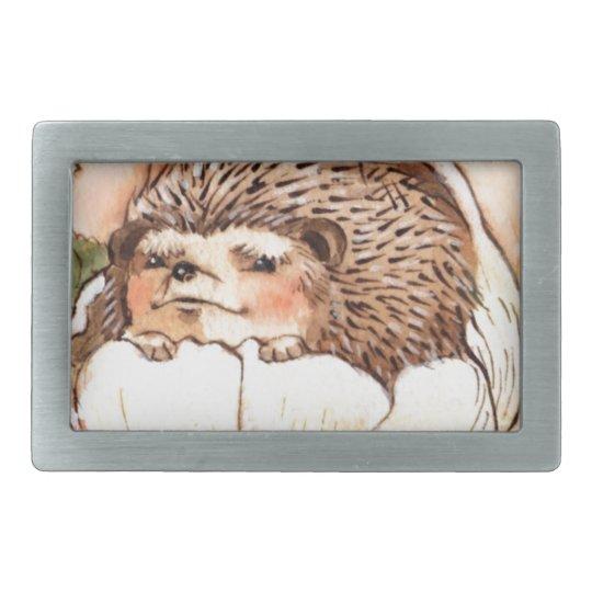 Hedgehog Flower Baby Watercolor Rectangular Belt Buckles