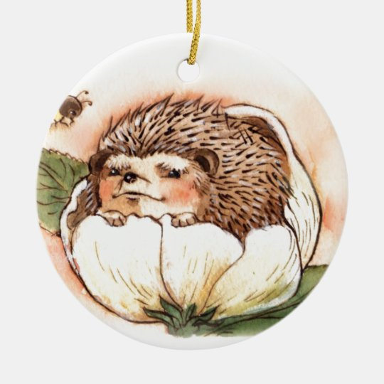 Hedgehog Flower Baby Watercolor Round Ceramic Ornament
