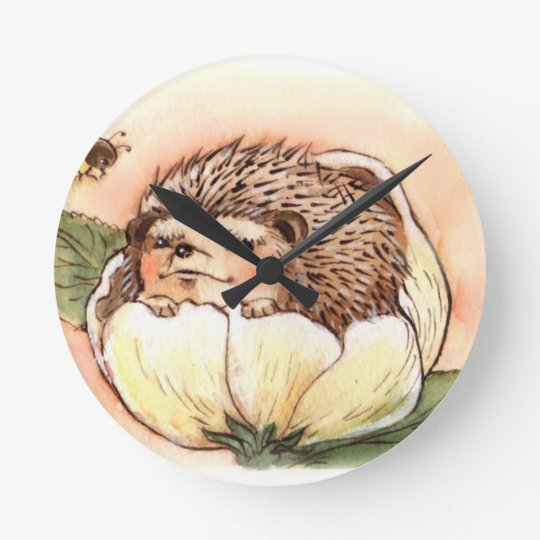 Hedgehog Flower Baby Watercolor Round Clock