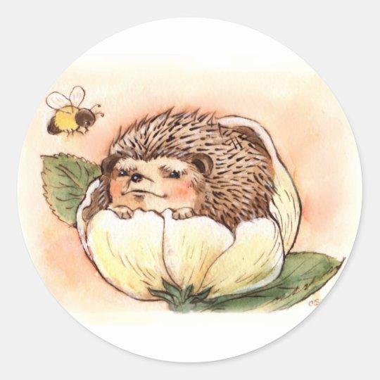 Hedgehog Flower Baby Watercolor Round Sticker