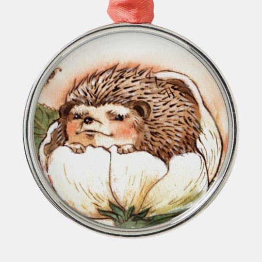 Hedgehog Flower Baby Watercolor Silver-Colored Round Ornament
