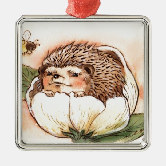 Hedgehog Flower Baby Watercolor Silver-Colored Square Ornament